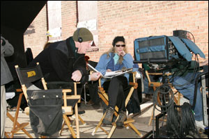 Ed Burns on the set of The Wire