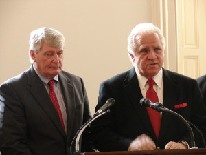 "Maryland Senate President Thomas V. ""Mike"" Miller, and Maryland Speaker of the House of Delegates Michael Busch"