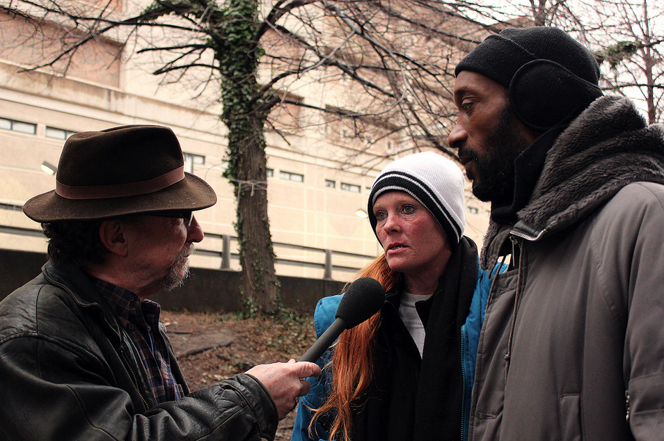 Recording a documentary piece on the Camp 83 Homeless encampment