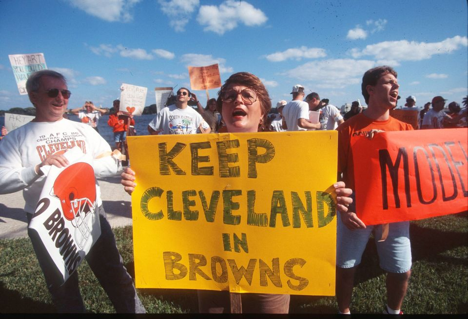 Art Modell's 1995 announcement that he planned to move the Cleveland Browns to Baltimore
