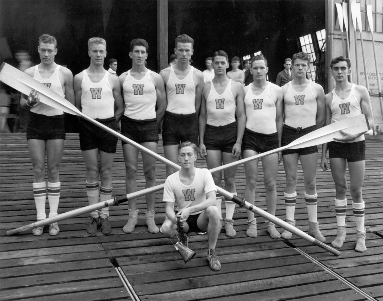 Olympic champion crew team, University of Washington;this team won the gold medal at the 1936 Olympics in Berlin; Handwritten on border: 1936 - Olympic Champions.