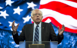 Senator Bernie Sanders, an independent from Vermont and 2016 Democratic presidential candidate, speaks during a Liberty University Convocation in Lynchburg, Virginia, U.S., on Monday, Sept. 14, 2015. Sanders now leads his Democratic rival former secretary of state Hillary Clinton by double digits in Iowa and New Hampshire, the first two states in where votes will be cast in 2016 to decide the party's presidential nominee. Photographer: Andrew Harrer/Bloomberg *** Local Caption *** Bernie Sanders
