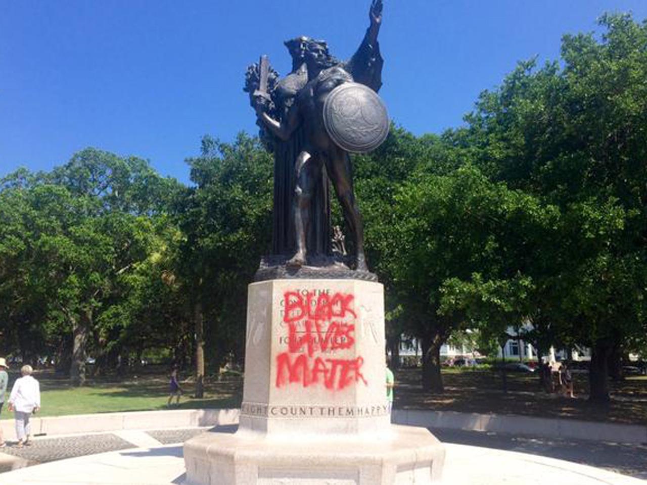 Confederate Statue Vandalism (Credit: CBS News)